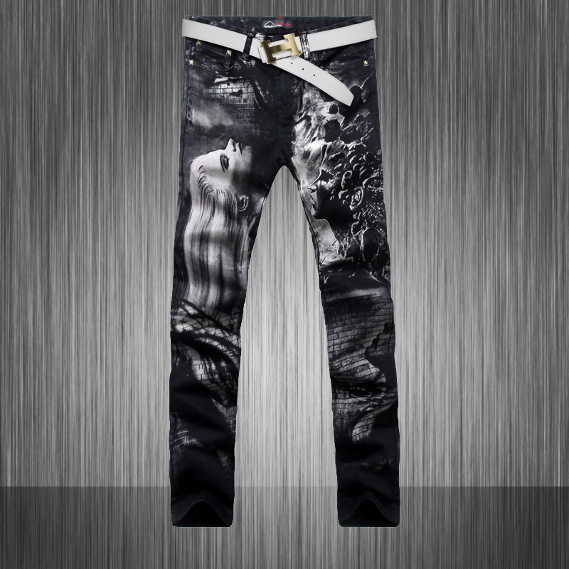 2014 new spring and Autumn menswear hot sales men painted thin stretch pants men jeans trousers Pattern Painted Jeans wz40Одежда и ак�е��уары<br><br><br>Aliexpress