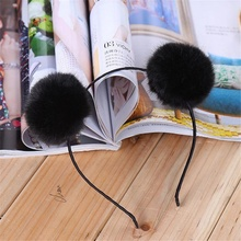 1 pcs New Arrival Sweet Pom Fur Ball Furry Ears Fluffy Rabbit Fur Ball Women Headband Hair band Head Accessory