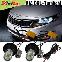 2xFor KIA Sportage K5 k2 K3 K3S Forte Optima RIO Soul DRL Daytime Running Lights DRL&Front Turn Signals All In One Free shipping