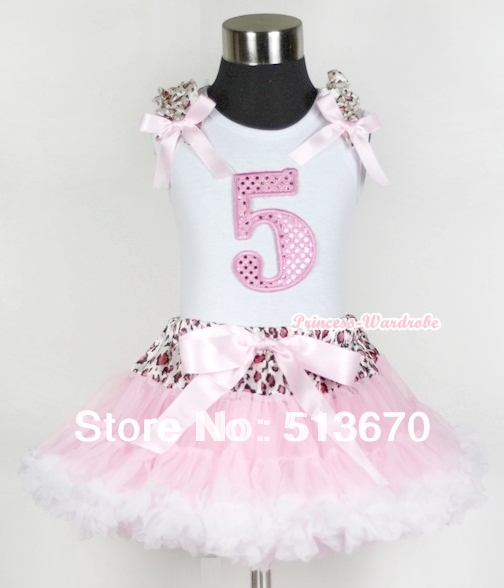 White Tank Top 5th Light Pink Birthday Number &amp; Light Pink Leopard Ruffles Bow Leopard Waist Light Pink White Pettiskirt MAMG437<br>