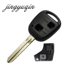 jingyuqin Uncut Blank Remote Key Shell Case for Toyota Avensis Yaris Auris 2 Buttons Key Cover + rubber pad Replacement(China)