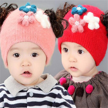 Three Flowers Baby Girl Wig Hat For Infant Winter Baby Caps For Newborn Beanie Fashion Lovely Winter Toddler Infant Warm Hat