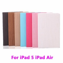 Tablet PC Vertical Wood Grain Flip Leather Hibernate Case for Apple iPad 5 iPad Air 1 Cover Anti-Dust PC+PU Protective Housing