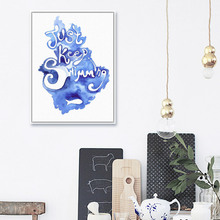 Modern Watercolor Blue Typography Swim Quotes A4 Art Print Poster Wall Picture Living Room Canvas Painting Home Decor No Frame