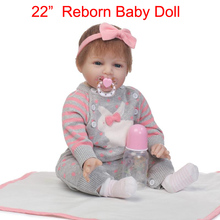 "Newest reborn babies for sale 22"" 55cm silicone reborn dolls miniature baby doll gift for children bebe realistic reborn bonecas"