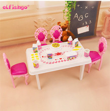 2016 New Dinner Table Set For Barbie And Kelly Doll's House Furniture, Doll Accessories 17 pcs In 1
