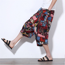 Plus Size Summer Linen Pants Men Short 2017 Print Traditional Harem Men Calf-length Pants 3XL 4XL 5XL Bermuda Bench Man Capris