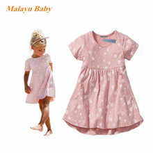Malayu Baby brand 2017 summer new girl burst high quality cotton love printed dress, birthday party holiday dress 2-6 years old
