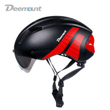 Deemount Evade Aero Cycling Helmet Bicycle MTB Mountain Road Biking Safety Cap W/ Goggle Lens In-mold 11 cavities PC EPS foam(China)