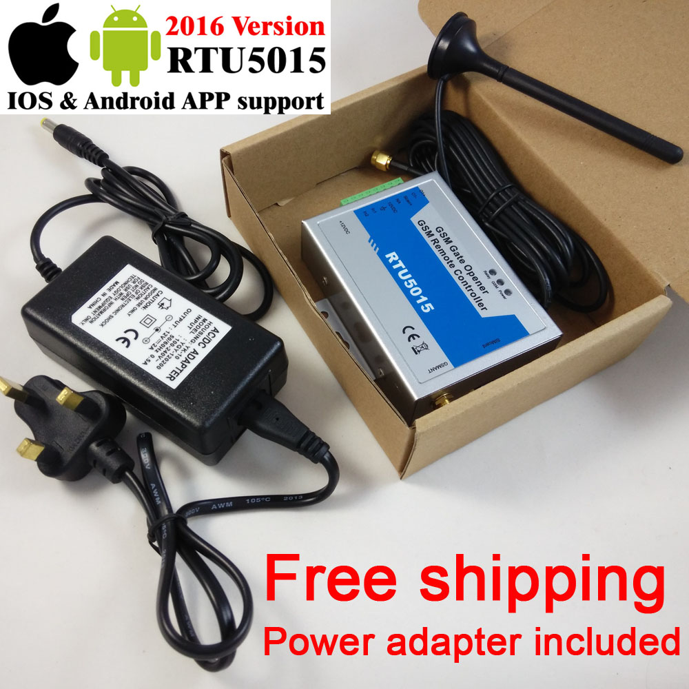 Free shipping RTU5015 GSM gate opener Operator Remote access controller 2 Input/1 Output DC Power adapter inlucluded app support<br>