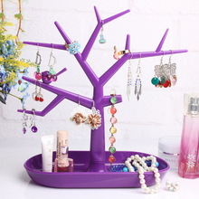 Multifunctional Tree-shape Jewelry Storage Rack Jewelry display shelf purple plastic necklace holder rack bracelet stand frame