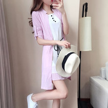 2017 summer new casual style women clothing loose elegant half sleeve bow belt knee length poly chiffon dress coat + vest suits