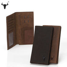Crazy Horse Leather Men Wallet Slim Vintage Genuine Leather Long Purse Cowhide Bifold wallets with Coin Pocket and Card Holders