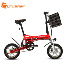 Cyrusher XF600 Suspenion Mini Folding Bike with 6061 Aluminum Frame Fat Tire Rim 36V Red Bicycle(China)