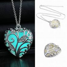 OneckOha Fashion Jewelry Glow In The Dark Rhinestone Leaf Heart Locket Pendant Silver Glowing Necklace Choker Necklace
