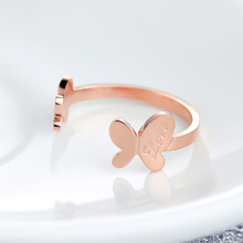Fashion Brand Trendy Butterfly Opening Rings For Women Classic Design Rose Gold Colour Stainless Steel Cheap Rings(China)