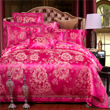 ephensun Luxury watermelon red bedding set peony floral jacquard bed cover wedding bed linens duvet cover sheet pillowcase B6056