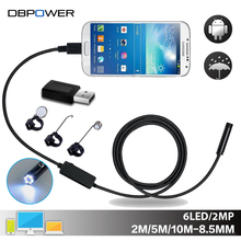 DBPOWER USB 2MP Mobile Endoscope Android 8.5MM Lens 2/5/10M Snake Camera Waterproof Inspection Borescope for Laptop with OTG/UVC(China)