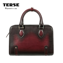 TERSE_2017 New Arrival Mens Briefcase Cowhide Genuine Leather Bags Female Document Tote Bag Engraving Logo Service Portfolio 425(China)