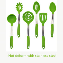 1 Set 2017 New Green Color FDA Approved Silicone Cooking Utensils Set Premium Spoon Spatula Soup Ladle Kitchen Utensil Set