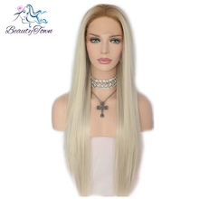 Beauty Town Ombre Brown Blond Straight Style High Temperature Fiber Glueless Heat Resistant Synthetic Front Lace Wig For Women(China)