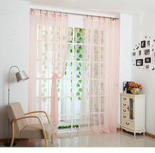 Hot Sale Decorations Soft Sheer Tulle Curtains For Living Room White/pink/yellow /green/blue/ Voile Curtains Solid Color(China)