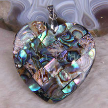 Free Shipping New without tags Fashion Jewelry Heart Natural New Zealand Abalone Shell Pendant 1Pcs RK713