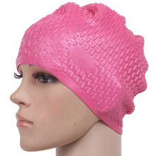 Women's Summer Waterproof Particles Design Swimming Cap Excellent Elastic Silicone Ear Protection(China)