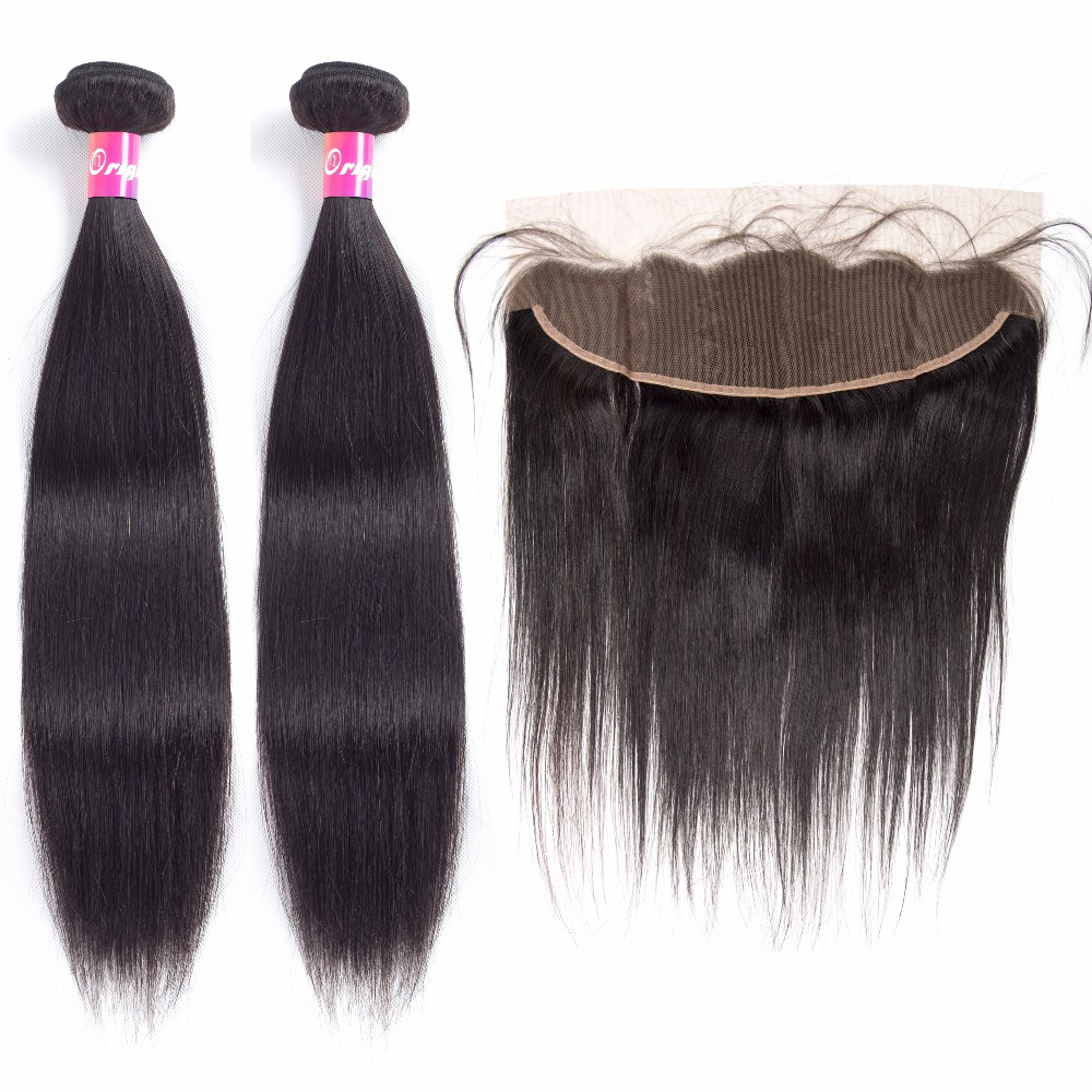 Bundles with frontal, bundles straight, bundles with lace frontal,Cheap bundles with frontal,High Quality bundles straight, China bundles with lace frontal Suppliers Brazilian Straight Hair 2Bundles With Frontal 13x4 Pre Plucked Non Remy Human Hair Lace Frontal Closure With Baby Hair
