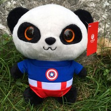 20cm Captain America Panda Plush Toys Soft Panda Plush Dolls Stuffed Animals Toys Christmas Gifts Kids Toys Free Shipping(China)