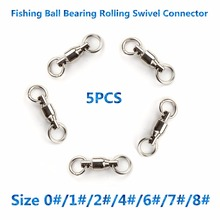 High Quality 5pcs Size 1#/2#/4#/6#/7#/8# Ball Bearing Stainless Steel Fishing Rolling Swivels String Connector Fishing Hook