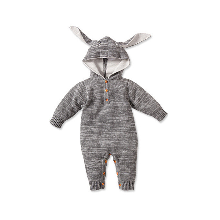 high quality baby kintting romper infant baby hooded jumpsuit baby spring fall romper free shipping<br><br>Aliexpress