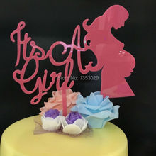 Free Shipping It's A Girl Pink Cake Topper Baby Shower Acrylic Cake Topper First Birthday Party Decorations Cake Stand Topper