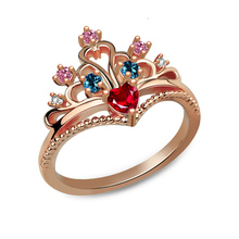 Wholesale Customized Fairytale Princess Crown Ring Sparkling Birthstone Tiara Ring Women Jewelry Rose Gold Color