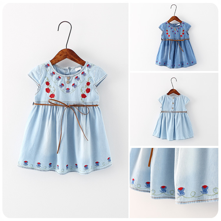 Korean Childrens Garment 2016 Spring Summer New Style Girl Embroidery Chalaza Cowboy Dress Girl Baby A Doll  Jacket <br>