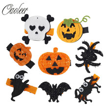 16 Pieces/lotCute Halloween Hair Bows With Ribbon Clips For Kids Girls Pumpkin Bows Hairpins Hair Accessories()