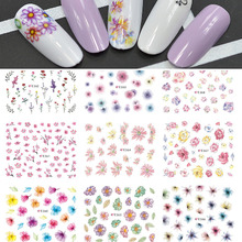 11 Designs/lot Fashion Adhesive Glue Tips DIY Nail Art 3d Colorful Flowers Stickers Makeup Salon Women Beauty Tools E358-368