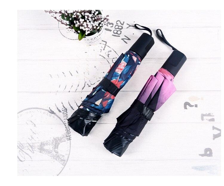 2e1bf281e7 2017 New Arrival Summer Sun Fashion lady Three folding Black coating  compact Female male lady sunny rain anti-uv umbrellas - us560