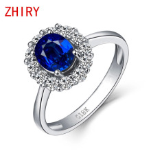 0.5ct Blue Sapphire Ring 100% Natural Sapphire Gems real 18k White gold Rings Fine Jewelry luxury