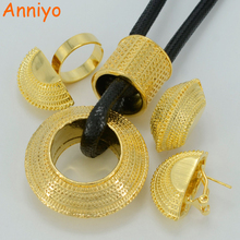 Anniyo New Ethiopian Jewelry sets Gold Color HEAVY Pendant & Black Rope Earrings Ring Habesha Wedding Africa Bride Gift #042106(China)