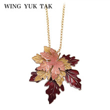 wing yuk tak Fashion Classic Lucite 3D maple Zinc Alloy Leaf Plants Long Vintage Necklace Popcorn Chain Enamel Jewelry(China)