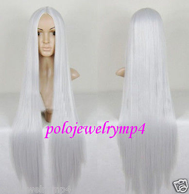 New wig Cosplay Long Silver White Halve Straight wig Party cosplays heat resistant (B0320)<br><br>Aliexpress