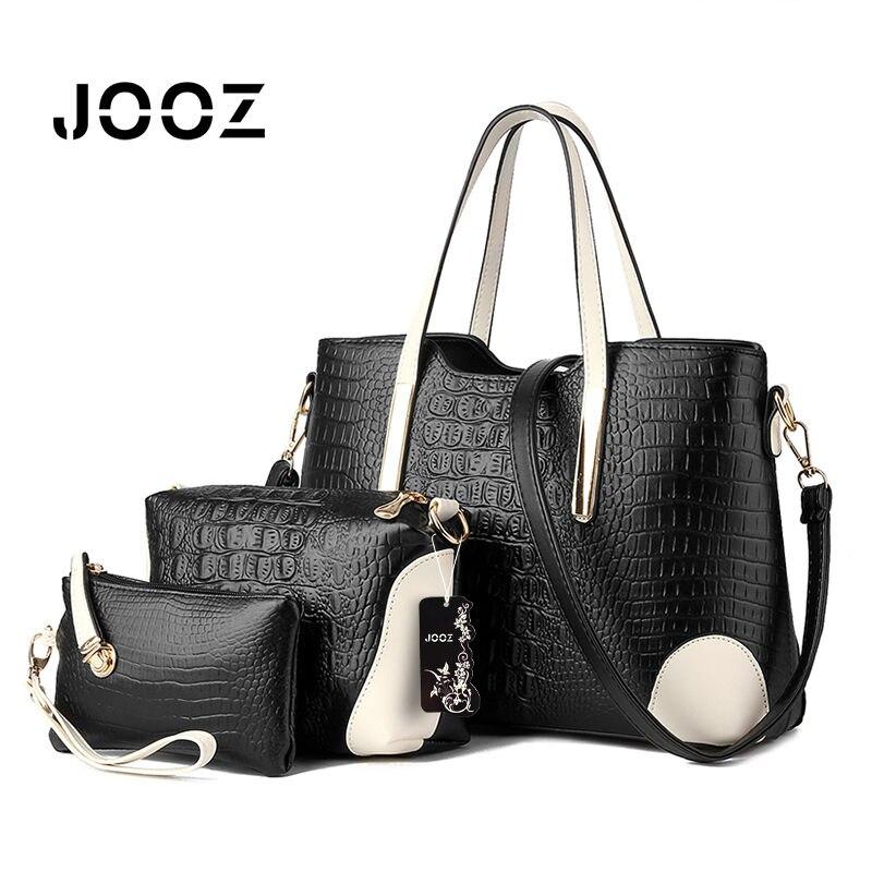 2017 New Women Black Bucket Bag Ladies Handbags PU Leather Shoulder Bag Luxury Brand Handbag Braided Lines Tote Bag 3 Sets<br>