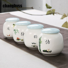 Chinese Style Ceramic Jars for Spice Kitchen Storage Canister Tea Sugar Spice Jars miniature home decor Storage Tank Tea Box