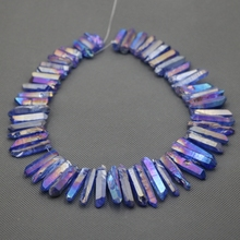 Approx 54pcs/strand Natural Raw Blue Quartz AB Crystal Point Pendant Rough Top Drilled Spike Gem Beads Crystal Women Necklace