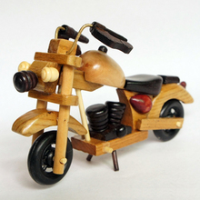 Antique Wood Motorcycle 15x5x9cm Movable Handmade Craft For Home Decor Boy's Birthday Gift Toy Father's Day Enthusiast Collect