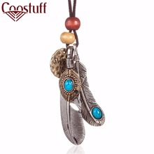 Fashion woman jewelry statement necklaces & pendants Feathers pendant vintage Long necklace women christmas gift collares mujer(China)