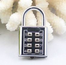 1PCS 4 Digit Push Button Combination Padlock Silver Number Luggage Travel Code Lock Travel Accessories(China)