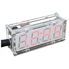 DIY LED Electronic Clock Kit Microcontroller Digital Tube Clock with Thermometer Hourly Chime Function DIY Kit Module red