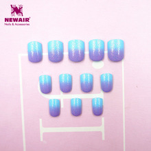 Buy New Kids False Design Nail Tips 24pcs Blue Purple Short Full Cover Children Fake Nails for $2.20 in AliExpress store